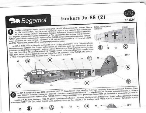 Begemot decal 1/72 Junkers Ju- 88 (2) - 72-024