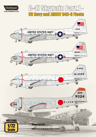 Wolfpack 1/72 decal C-47 Skytrain Pt 1 USN and JMSDF R4D-6 Fleets - WD72006