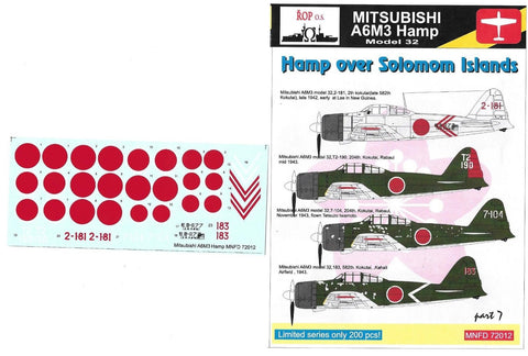 ROP o.s 1/72 Decal Mitsubishi A6M3 Hamp model 32 Hamp over Solomon Islands
