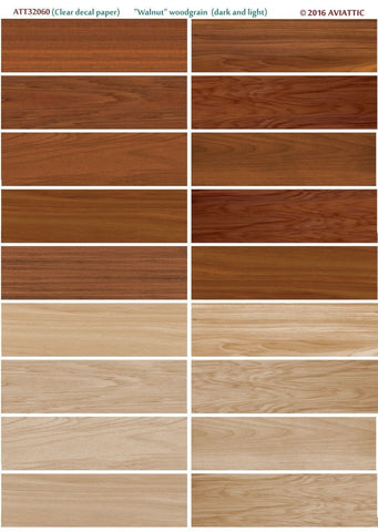 Aviattic 1/32 ATT32060 Clear decal paper Walnut woodgrain (dark and light)