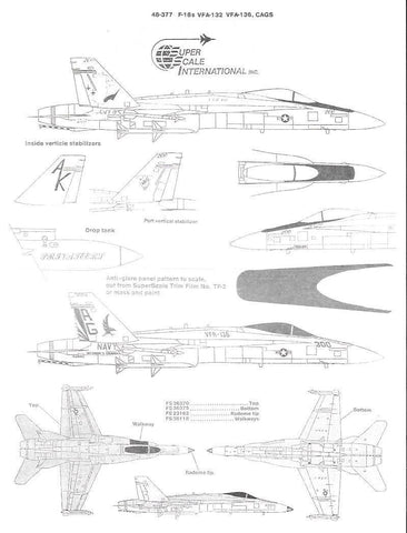 SuperScale 1/48 decals F-18 HORNETS VFA-132, FVA-136 CAGS - 48-377