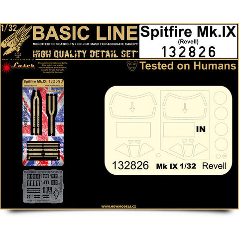 HGW 1/32 Spitfire Mk.IX Seatbelts and mask for Revell - Basic Line - 132826