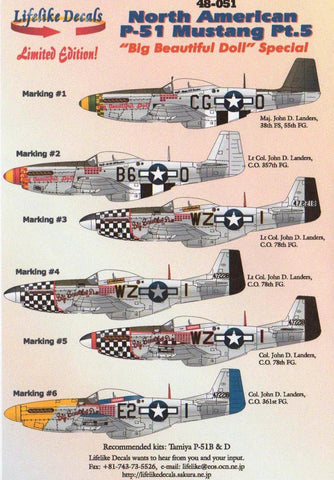 Lifelike decals 1/48 48-051 North-American P-51 Mustang Pt.5 Big Beautiful Doll