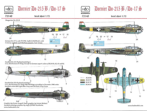 HAD Models decals 1/72 Dornier Do-215B / Do 17S - #72148