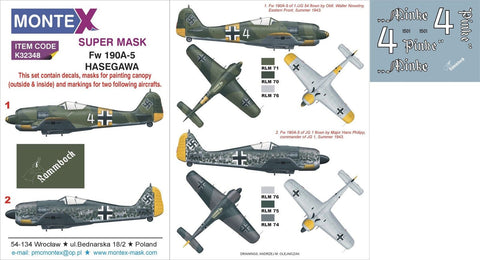 Montex 1/32 masks & markings for Focke-Wulf Fw-190A-5 for Hasegawa - K32348