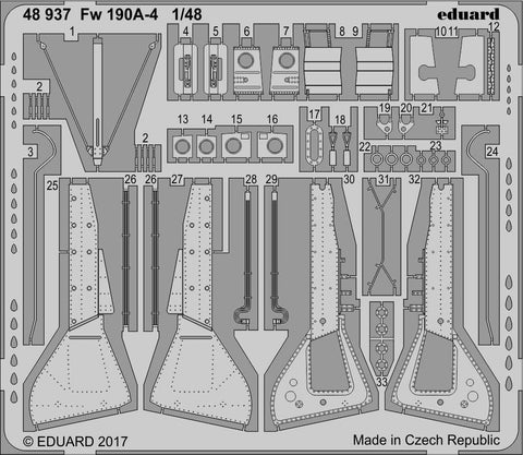 Eduard 1/48 photoetch detail for the Fw 190A-4 by Eduard - 48937