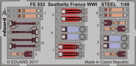 Eduard 1/48 Zoom photoetch Steel Seatbelts France WWI - FE852