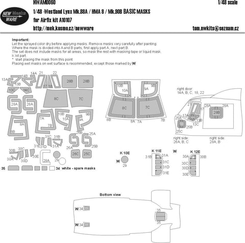 New Ware 1/48 masks set for Westland Lynx Mk.88A/HMA.8 for Airfix - NWAM0060