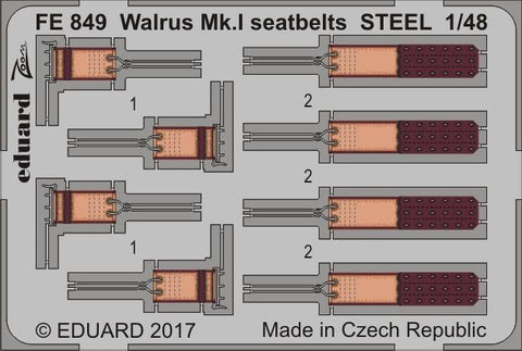 Eduard 1/48 photoetch Walrus Mk. I seatbelts STEEL kit by Airfix - FE849