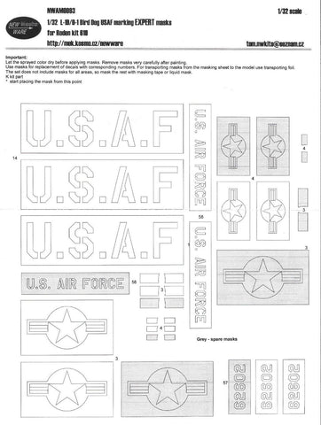 New Ware 1/32 L-19 / 0-1 Bird Dog USAF marking Expert masks for Roden kit#619