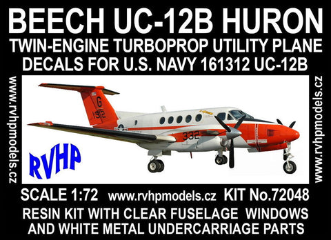 RVHP Models 1/72 Resin kit  Beech UC-12B Huron Markings for USN - 72048