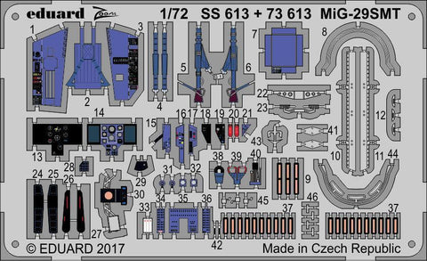 Eduard 1/72 PE Zoom colored detail set for MiG-29SMT by Zvezda - SS613