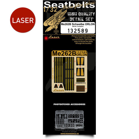 HGW 1/32 Me 262B Schwalbe (Orlon) seatbelts for Revell or Trumpeter 132589