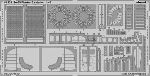 Eduard 1/48 Photoetch exterior detail for Su-35 Flanker E by Kitty Hawk - 48934