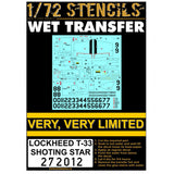 HGW 1/72 Stencils for Lockheed T-33 Shooting Star - 272012 Limited Availability