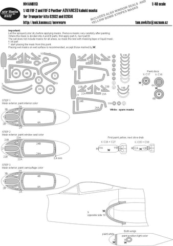 New Ware Mask 1/48 F9F-2 and F9F-3 Panther ADVANCED  kabuki for Trumpeter kit
