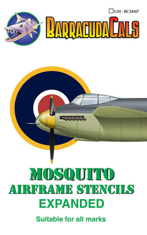 Barracuda Cals 1/24 BC24167 Mosquito Airframe Stencils - Expanded