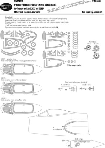 New Ware Mask 1/48 F9F-2 and  F9F-3 Panther EXPERT kabuki for Trumpeter kit