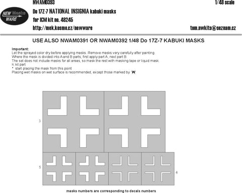 New Ware 1/48 scale Dornier Do-17Z-7 NATIONAL INSIGNIA masks for ICM - NWAM0393