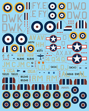 Fundekals 1/32 scale decals Spitfires pt 1 for Airfix Eduard Tamiya - FUN32006