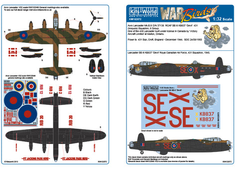 Kits-World decals 1/32 Avro Lancaster B.I/III Devil for HK Models - 132072
