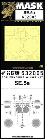 HGW 1/32 masks for SE5a HISSO for Wingnut Wings 632005