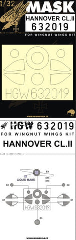 HGW 1/32 masks for Hannover CL.II for Wingnut Wings 632019