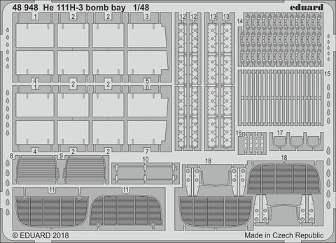 Eduard 1/48 scale photoetched detail for He 111H-3 bomb bay by ICM - 48948
