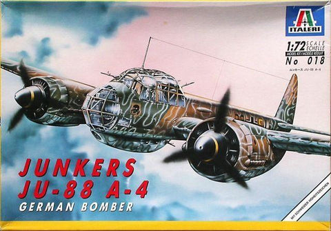 Italeri 1/72 scale aircraft kit 018 - GERMAN BOMBER JUNKERS Ju-88 A-4