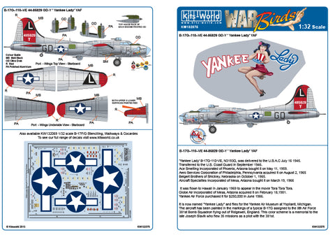 Kits-World decals 1/32 B-17G Flying Fortress Yankee Lady - 132075