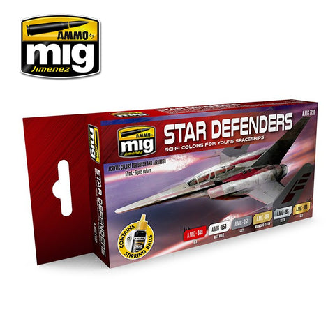 AMMO by MiG Acrylics Set 6 jars 17mL STAR DEFENDERS SCI-FI COLORS - AMIG7130