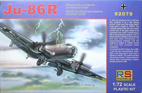 RS Models 1/72 scale Junkers Ju 86R German bomber model kit 92078 New Old Stock
