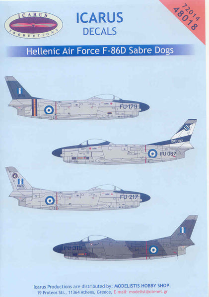Icarus Decals 1 72 For Hellenic Air Force F 86d Sabre Dogs