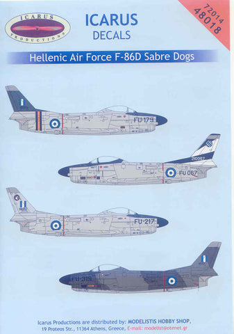 Icarus decals 1/72 for Hellenic Air Force F-86D Sabre Dogs - #72014