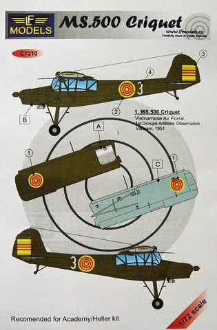 LF Models 1/72 decals MS.500 Criquet VAF 1951 for Heller/Academy - C7210