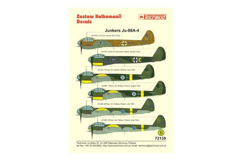 Techmod decal 1/72 for Junkers Ju-88A-4 Sicily and Finland markings - 72139