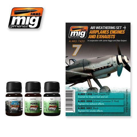 Airplanes Engines & Exhausts weathering set - AMIG-7420 by Ammo Mig Jimenez