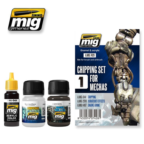 CHIPPING SET FOR MECHAS weathering set AMIG-7428 Ammo of Mig