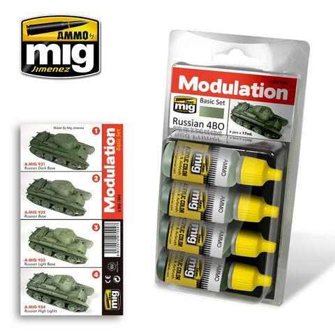 Ammo Mig Jimenez 4 jars 17mL each RUSSIAN 4BO MODULATION acrylic set - AMIG7004