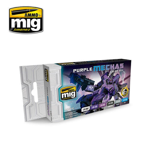 AMMO by MiG Acrylics Set 6 jars 17mL PURPLE MECHAS COLORS - AMIG7157