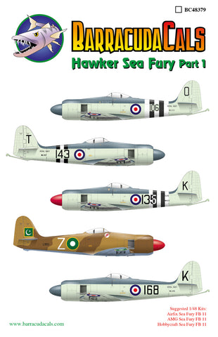 BarracudaCals 1/48 scale Hawker Sea Fury Part 1 - BC48379 - 7 different markings