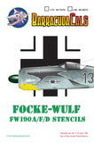 BarracudaCals 1/48 scale decal Fw-190A,F, D Airframe Stencils - BC48373