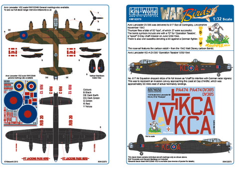 Kits-World decals 1/32 Avro Lancaster MkIII Thumper for HK Models - 132073