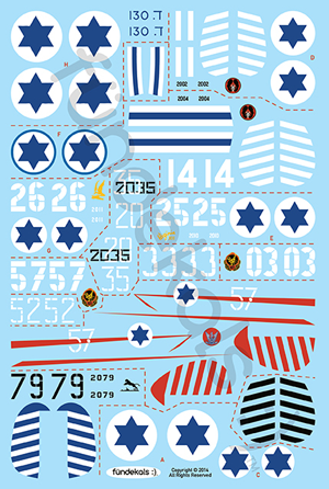 Fundekals 1/48 scale decals of Israeli Defense Force Spitfire Mk IXs - FUN48004