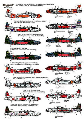 XtraDecal 1/72 decal T-33A Foreign Operators Norway Spain Thailand X72-122
