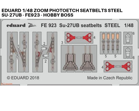 Eduard 1/48 Zoom Photoetch seatbelts steel for Su-27UB - FE923 - Hobby Boss