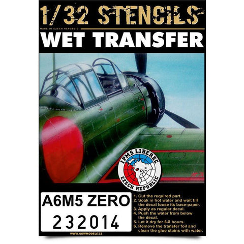 HGW 1/32 scale wet transfer stencils for A6M5 Zero by Hasegawa - 232014
