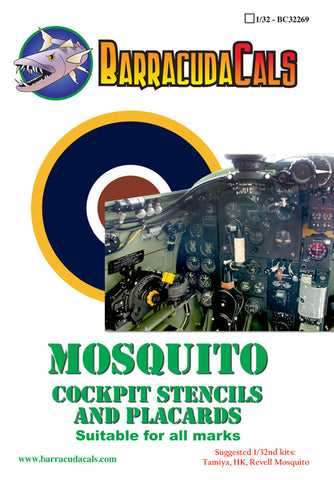 BarracudaCals 1/32 scale Mosquito Cockpit Stencils - BC32269 decals