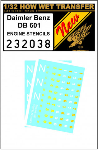 HGW 1/32 scale wet transfer stencils for Daimler Benz 601 Engine - 232038