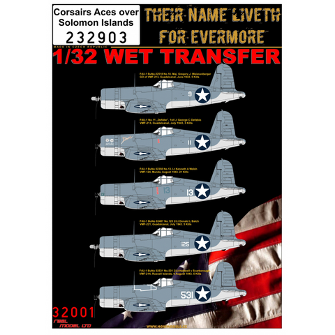 HGW 1/32 scale F4U-1 Corsairs Aces over Solomon Islands Wet Transfers - 232903